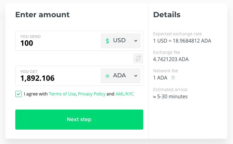 Buy ADA coin best exchange rate