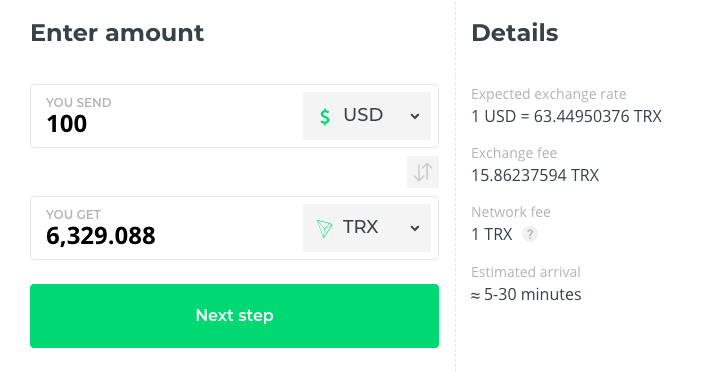 Buy TRX Tron at Changelly