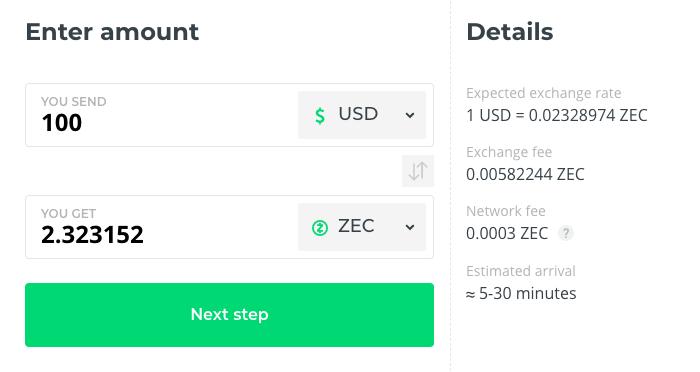 ZEC buy at Changelly