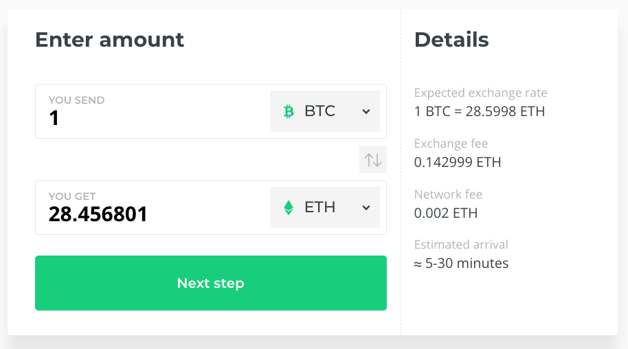 Exchange Bitcoins to other cryptocurrencies instantly
