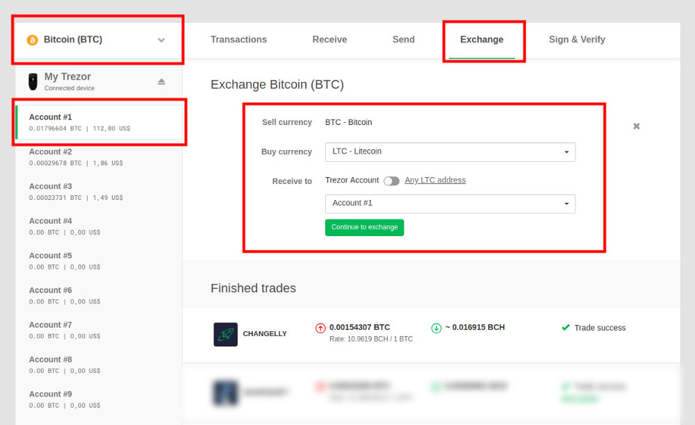 Trezor wallet crypto exchange