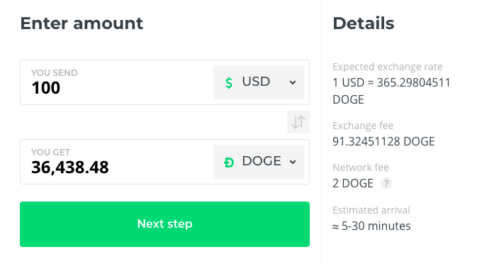 Buy Doge coins at Best Rate