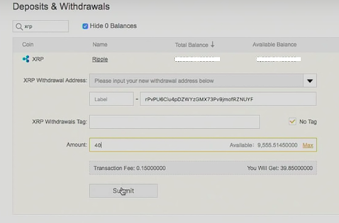 Ledger Deposits and Withdrawals