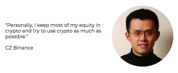 CZ Binance talks about living on crypto