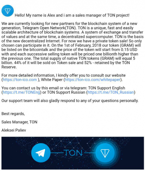 letter from ton scammers