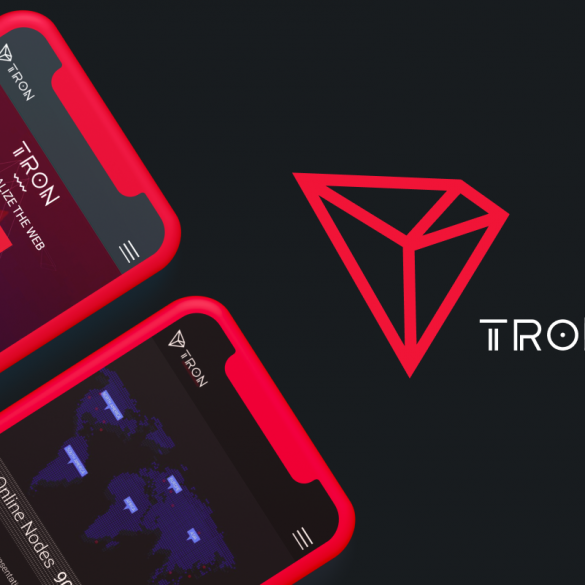tron project and cryptocurrency review article cover with tron logo and screen of the website