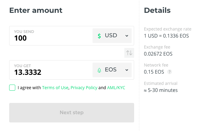 Buy EOS coin
