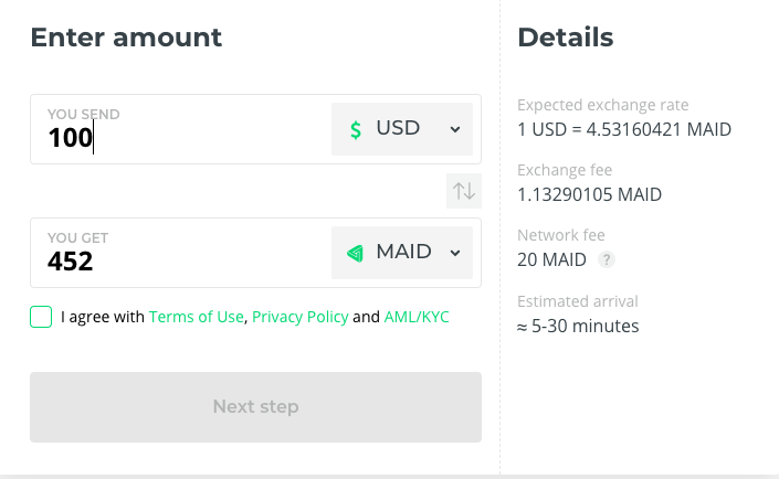 Buy MAID for USD at Changelly
