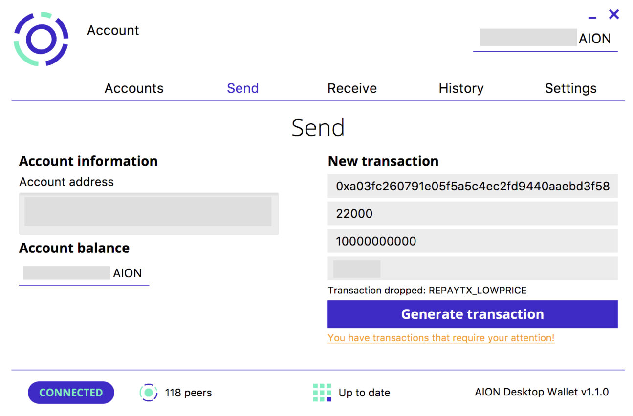 AION Wallet Interface
