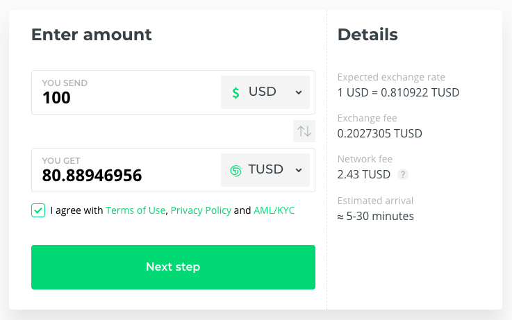 Buy TrueUSD Stablecoin