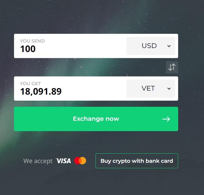 Buy Vechain VET at Changelly