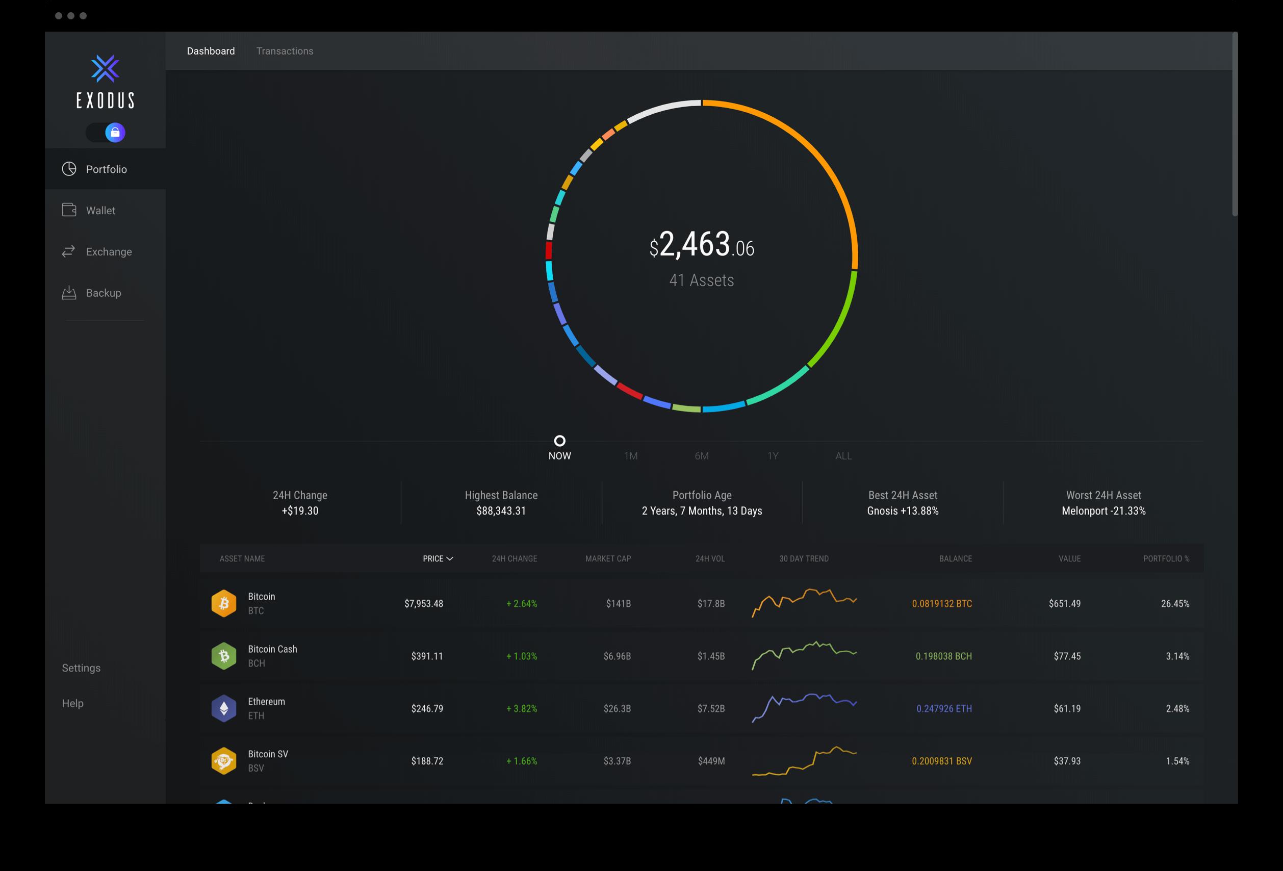 exodus wallet interface