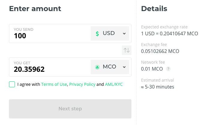 buy mco coin at changelly