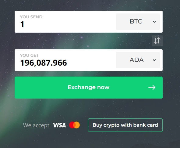 BTC to ADA exchange at Changelly