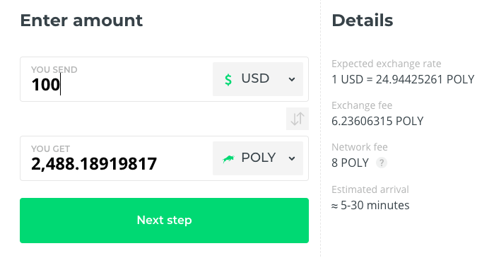 Buy POLY at Changelly