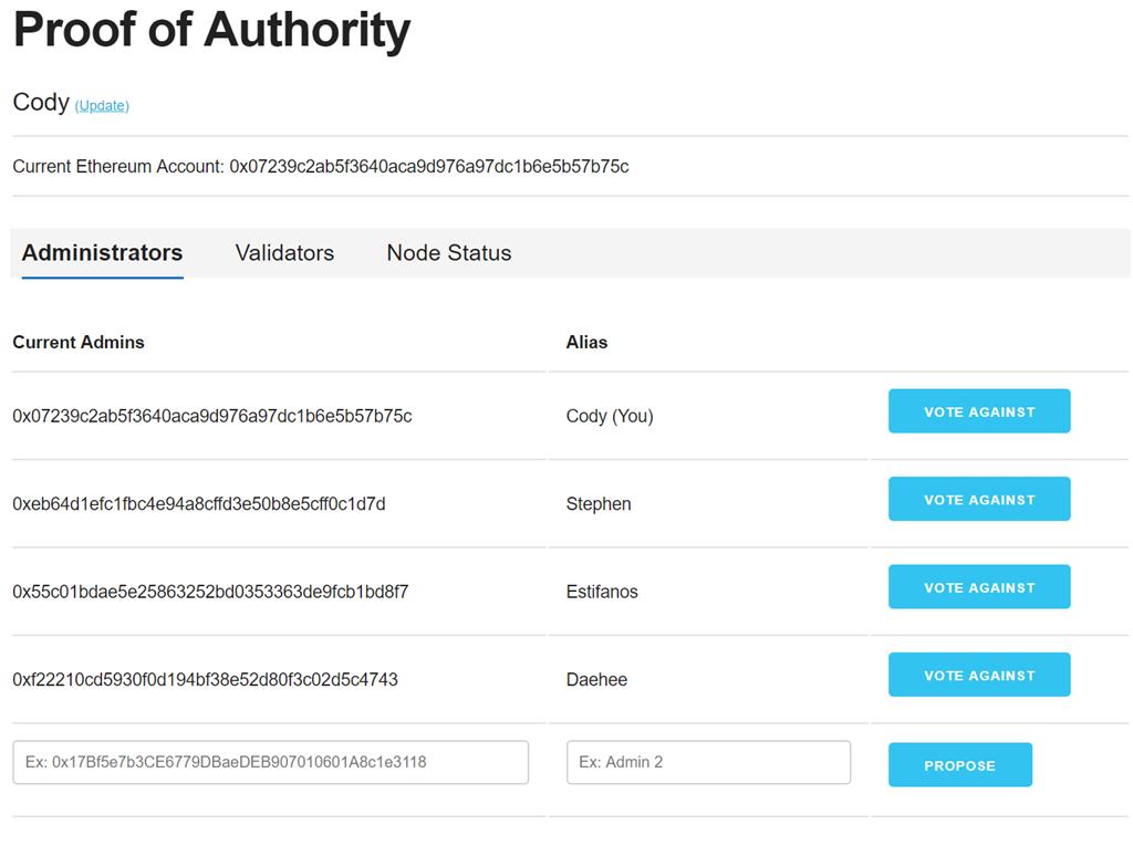 Desktop of Proof of Authority program