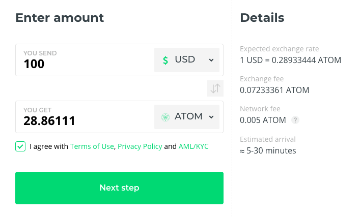 exchange atom with Changelly