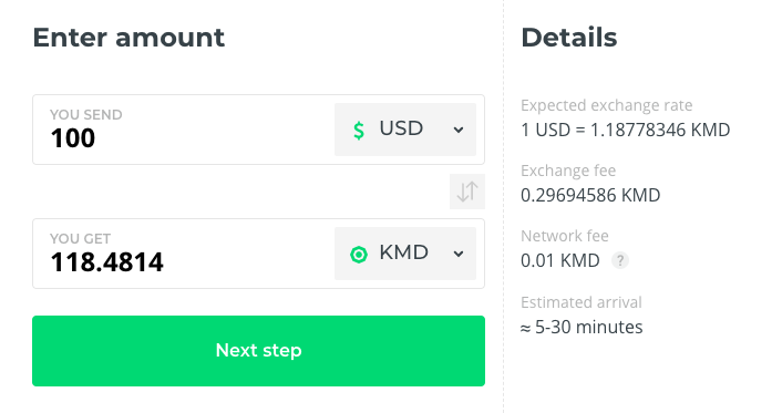 komodo buy on changelly