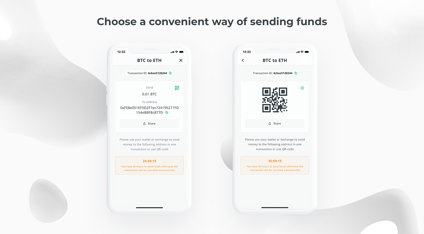 exchange crypto in changelly mobile app