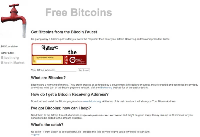 Free Bitcoins interface