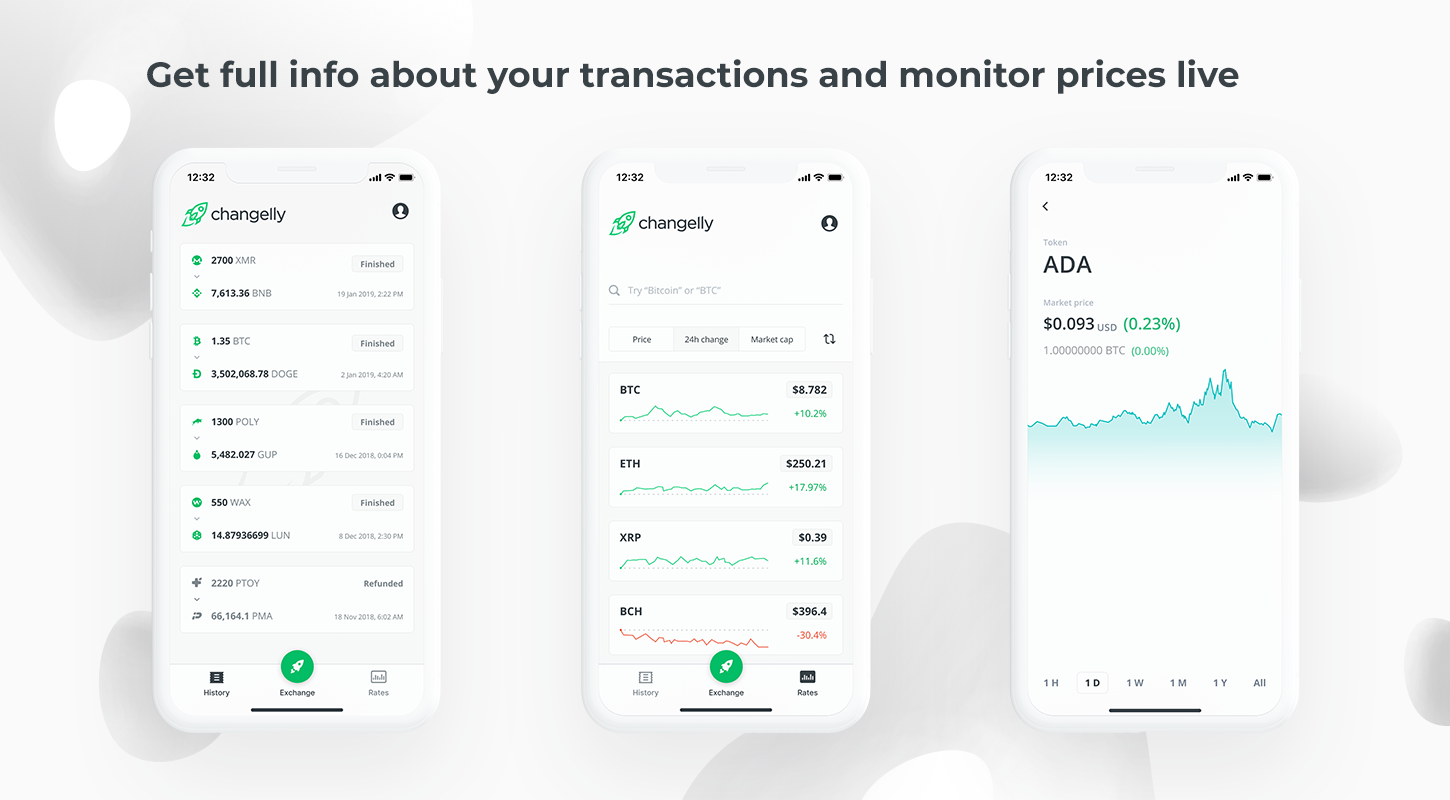crypto analytics in changelly mobile app
