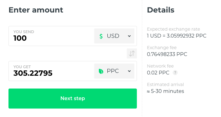 buy peercoin at changelly