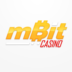 mbit casino logo in yellow and red colors