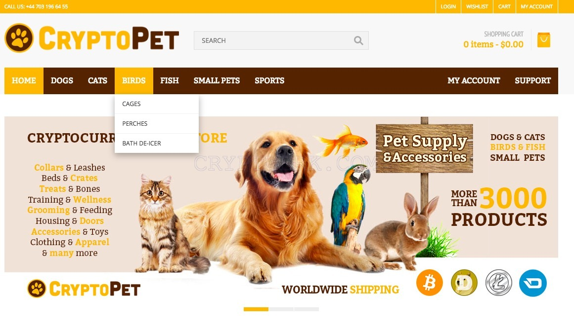 Cryptopet website interface