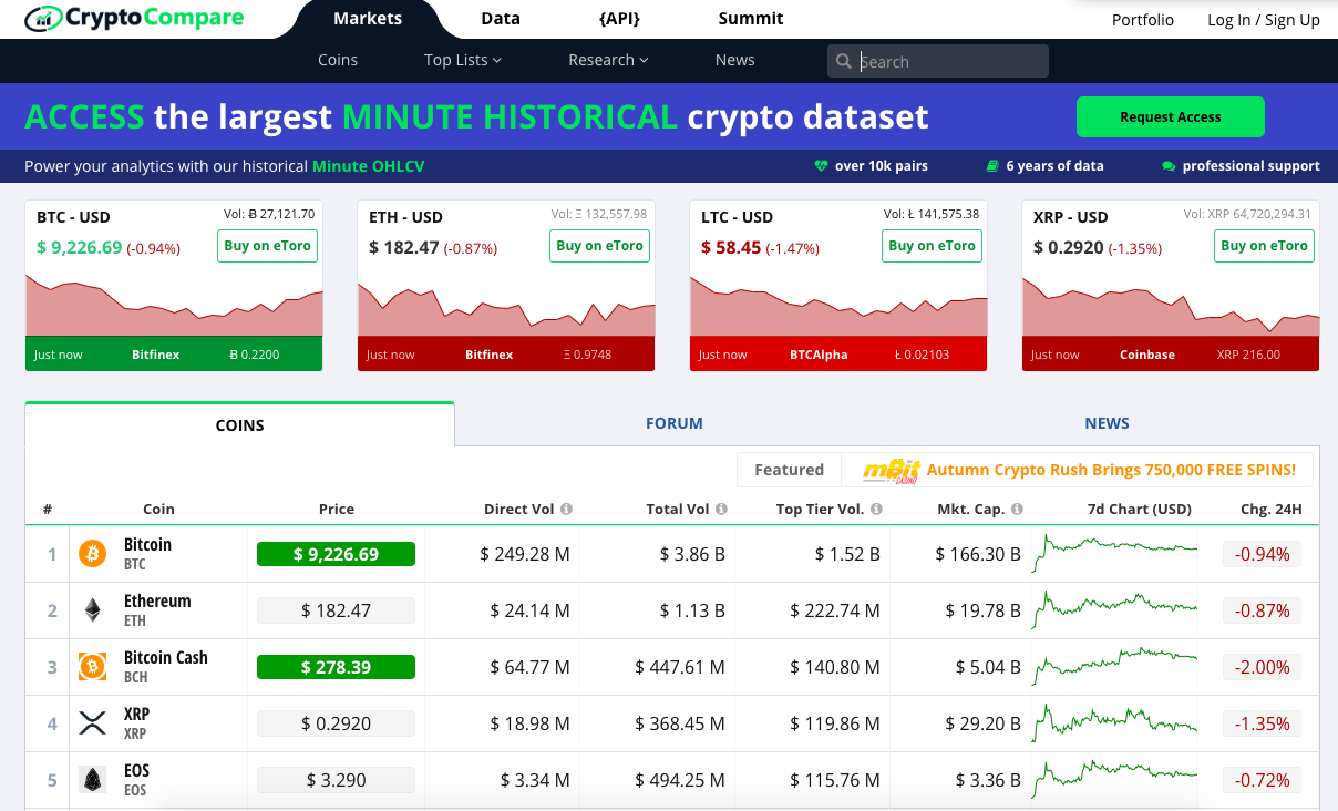 crypto compare screen
