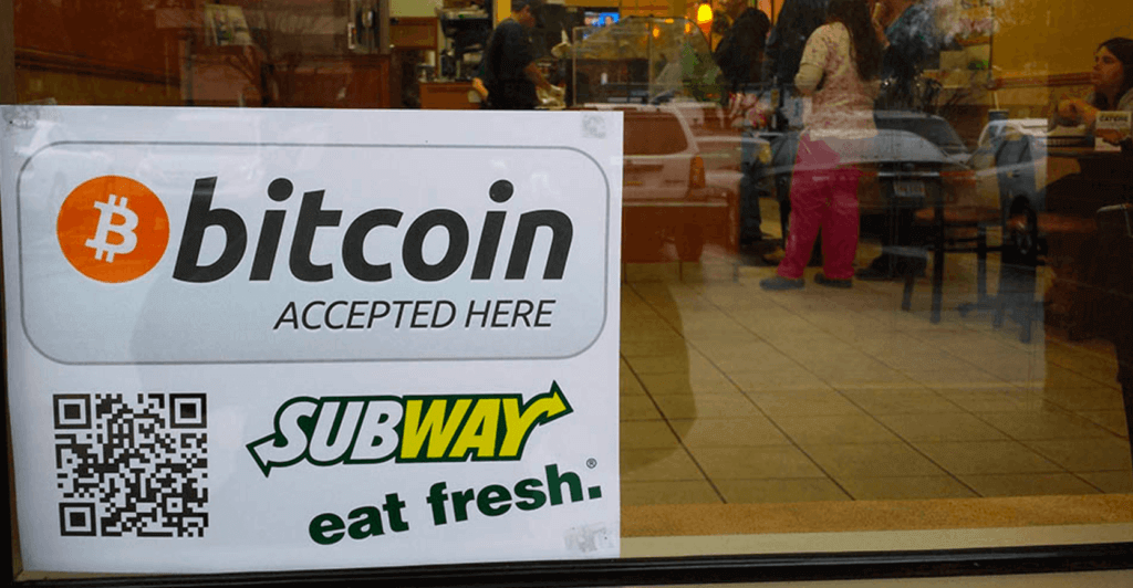 Subway accepts BTC payments