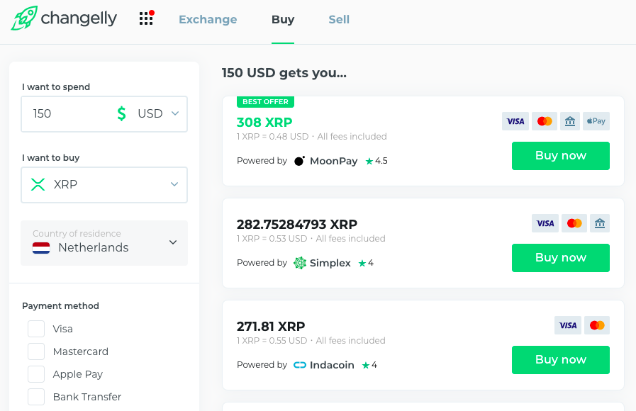 changelly providers list
