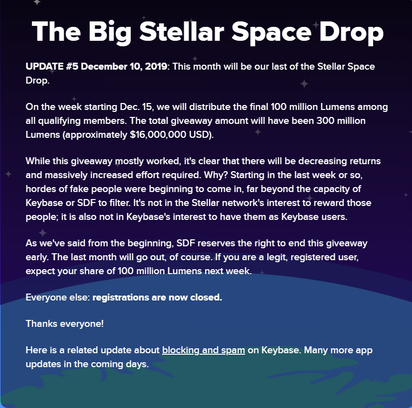stellar announcement