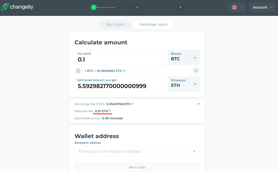 Changelly with no network fees