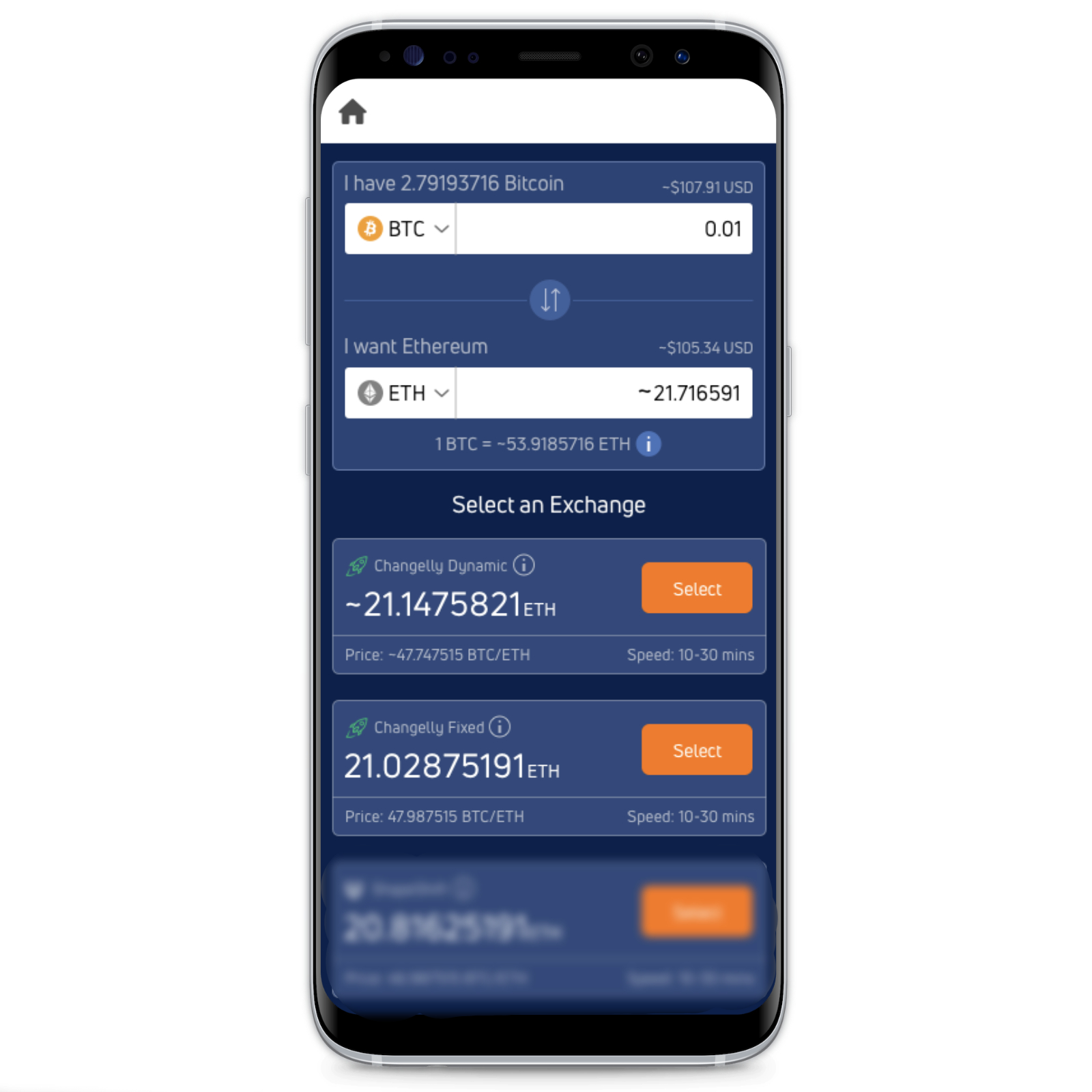 Jaxx Liberty crypto exchange with Changelly