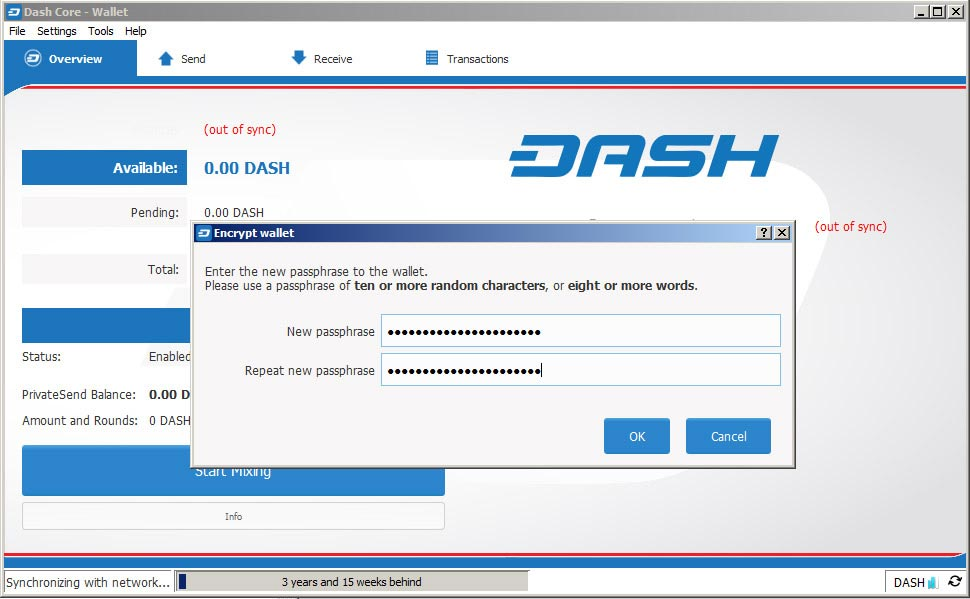 Dash core wallet interface with the passphrase
