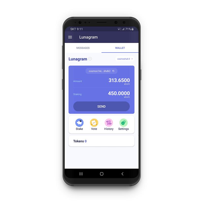 Lunagram wallet interface