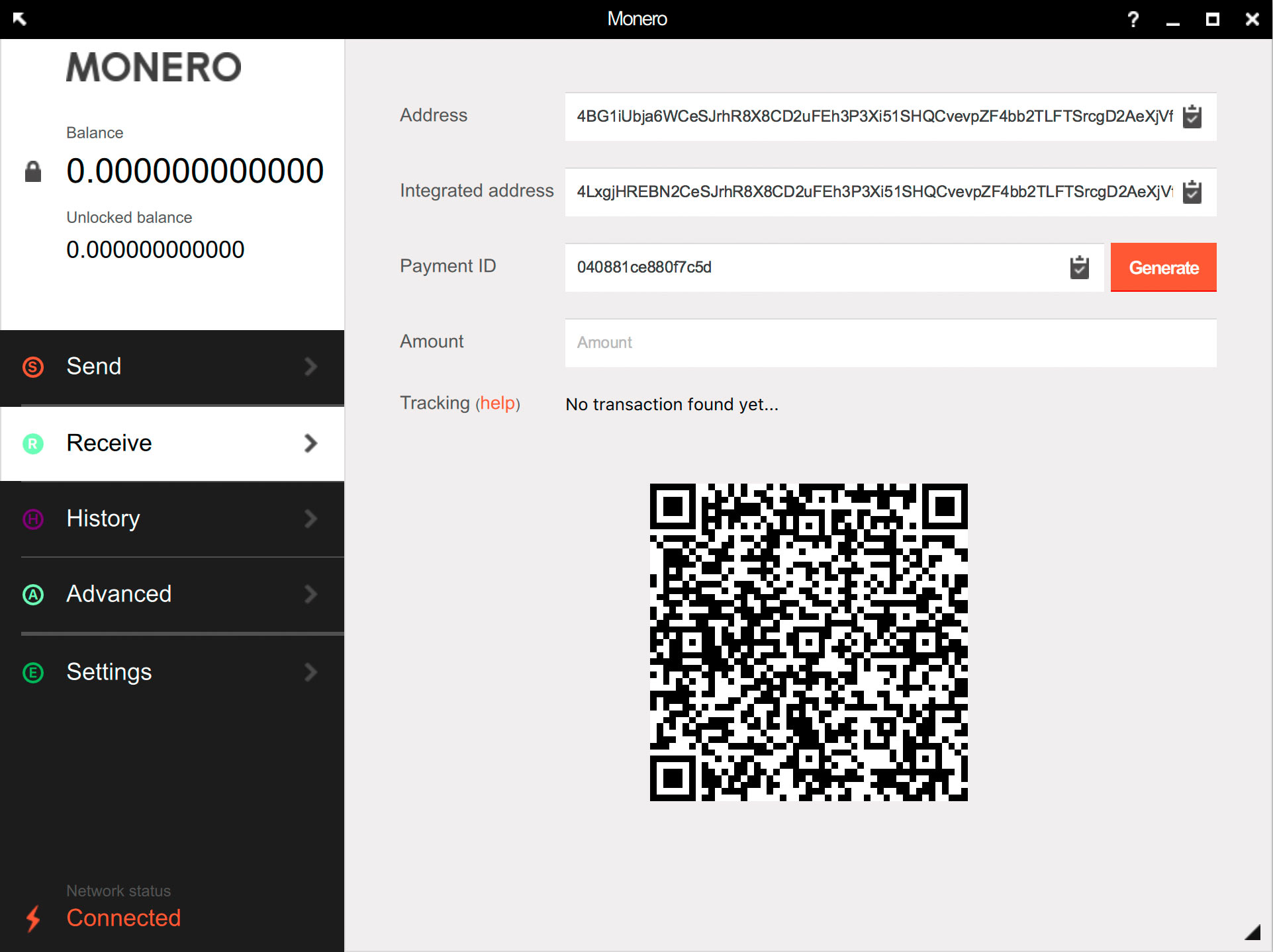 XMR Gui wallet interface
