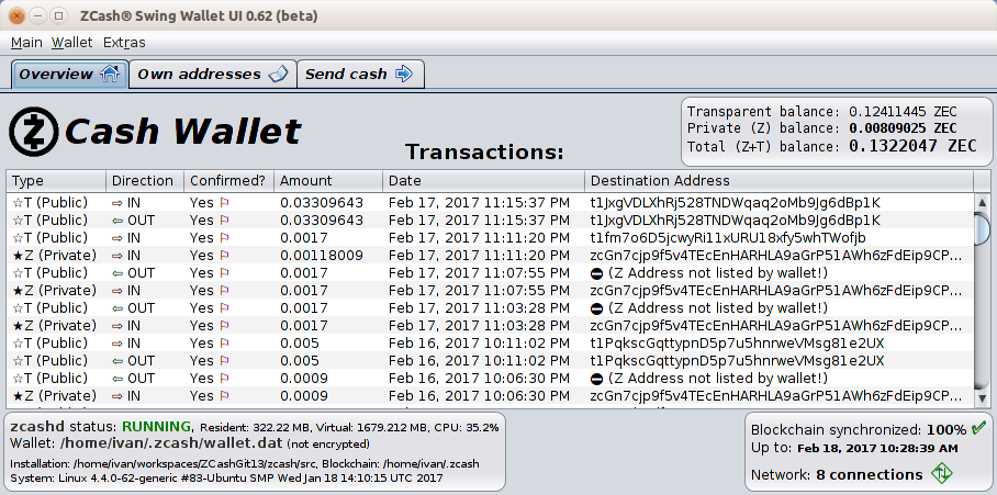 ZCash Official Wallet interface