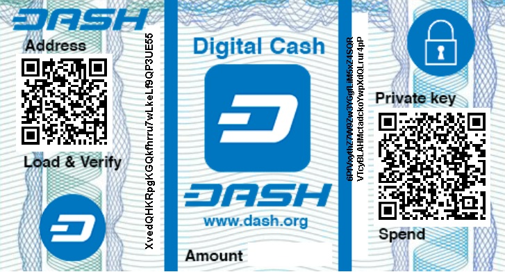 Dash paper wallet with qr codes of private key and public
