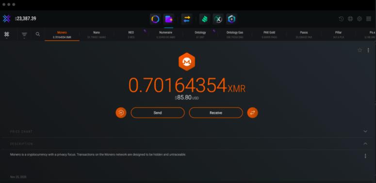 exodus XMR wallet interface