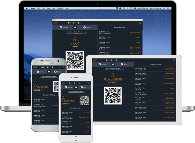 Jaxx wallets interface with all the platforms availebke: Dash desktop, mobile, and ipad wallet