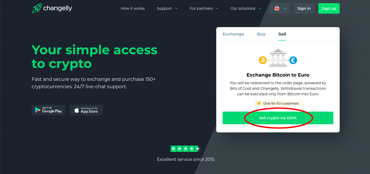 Withdraw BTC with Changelly