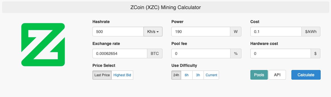 zcoin mining calculator