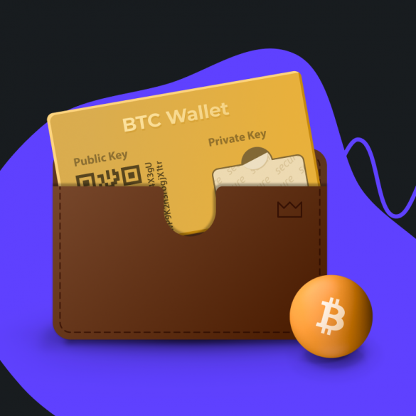 picture of bitcoin wallet and the btc logo
