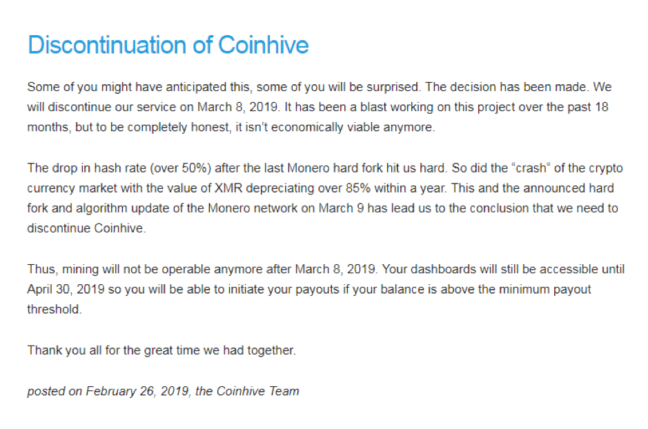 Coinhive notice