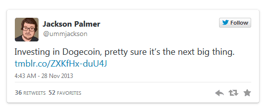 tweet of palmer about doge
