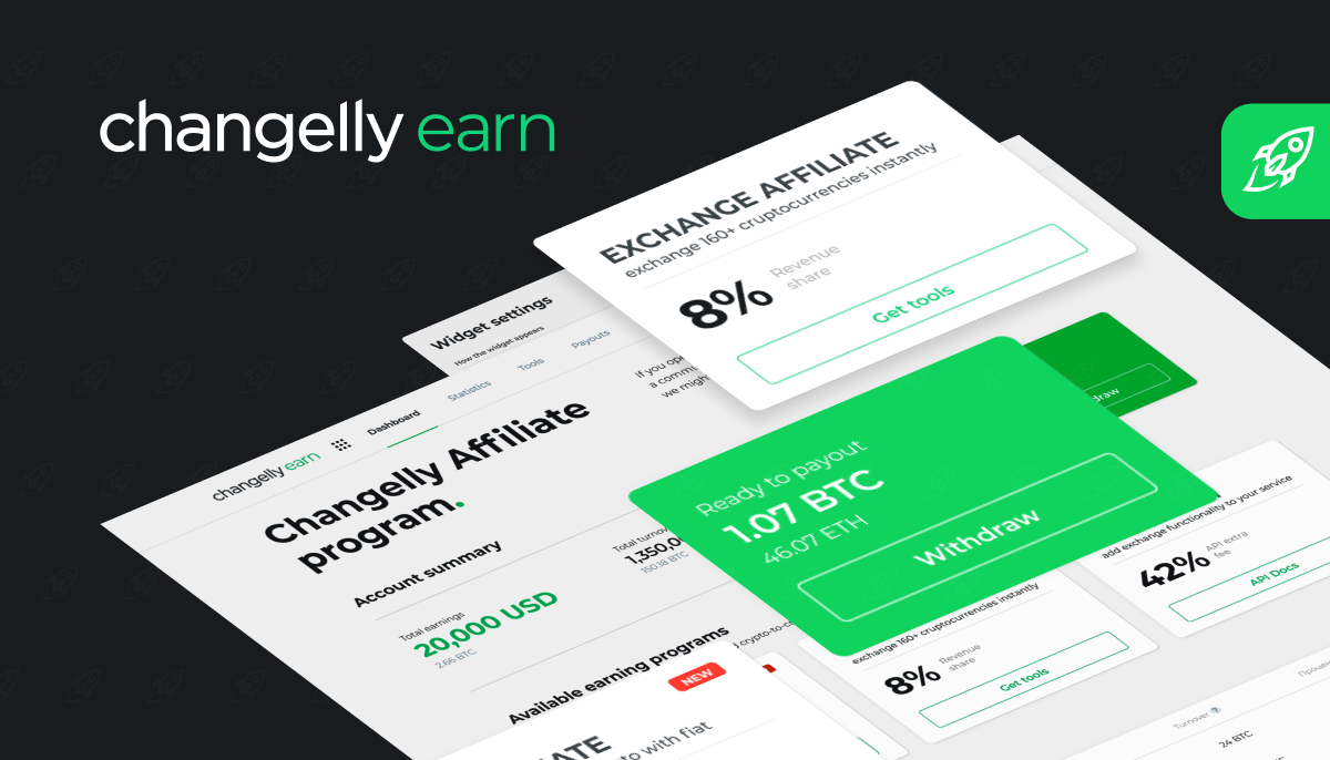 Changelly Earn article cover with the screenshots of changelly earn program