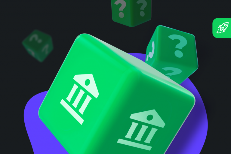 central bank digital currency article cover with the sign of the government on the green background
