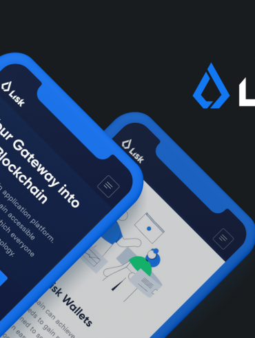 Lisk Network and cryptocurrency LSK on the background of mobile phones
