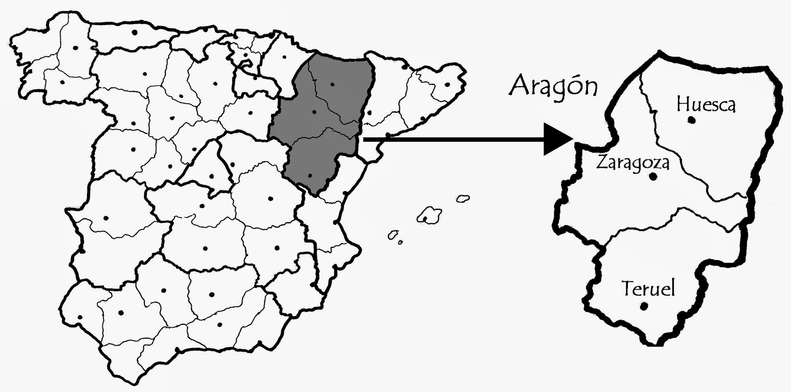 map of Aragon region in Spain